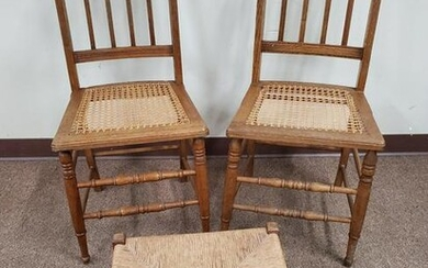 Pair of Cane Seated Chairs & Ottoman