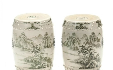 Pair of Chinese Painted Porcelain Garden Stools