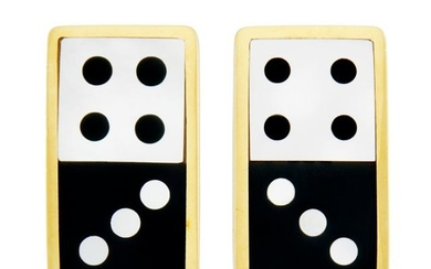 Pair of Gold, Black Jade and Mother-of-Pearl Domino Earclips, Tiffany & Co.