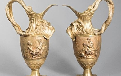 Pair of Neoclassical-Style Bronze Ewers