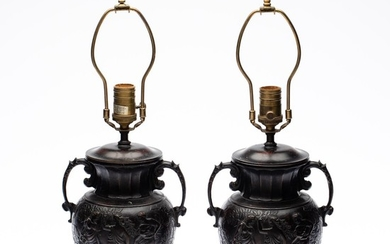 Pair of Neoclassical Style Urn-Form Bronze Lamps EV1DJ