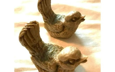 Pair of Vintage Matching Carved Stone Lovebirds