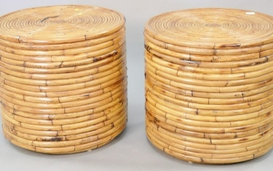 """Pair rattan round stands, 22 1/2"""" h., Provenance: The"""