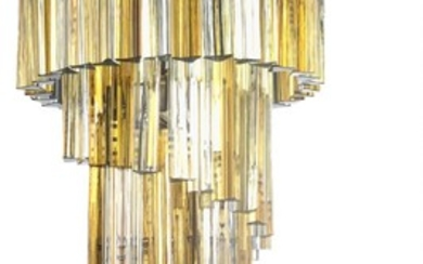 """Paolo Venini: """"Trilobo"""". Chandelier with chromed metal frame, decorated with transparent and yellow/orange glass prisms."""