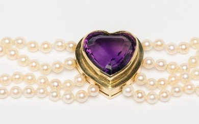 Pearl, Gold and Amethyst Stone Bracelet