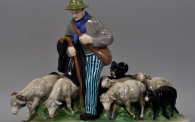 Porcelain group shepherds with flock