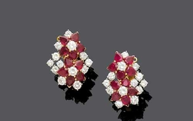 RUBY AND DIAMOND FLOWER EARCLIPS.