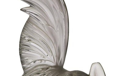 René Lalique (1860-1945), a clear and frosted glass paper-weight 'Coq...