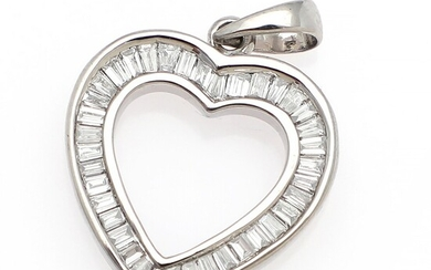 Ruben Svart: A diamond pendant in the shape of a heart set with numerous baguette and trapeze-cut diamonds, mounted in 18k white gold.