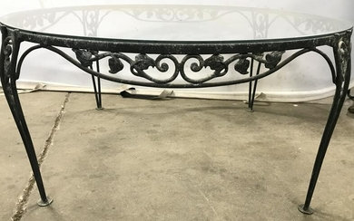 SALTERINI style Outdoor Metal Glass Top Table