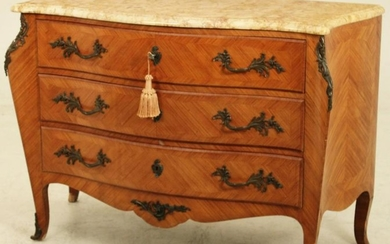SERPENTINE LOUIS XV STYLEMARBLE TOP COMMODE