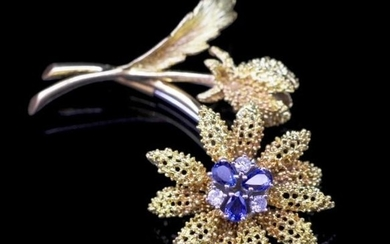 Sapphire and diamond set 18ct yellow gold brooch marked Birk...