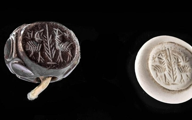 Sasanian Stone Stamp Seal Bead with Zoomorphic Figures