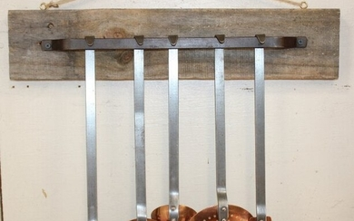 Set of 5 French copper utensils on iron & wood rack