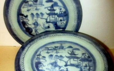 Set of Ten Chinese Antique Canton Dinner Plates