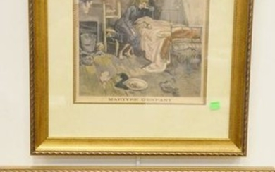 Set of nine French landscape engravings to include Les