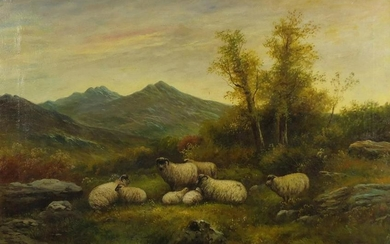 Sheep in a landscape, 19th century Scottish school oil