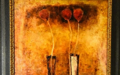 Signed Contemporary Floral Still Life Oil Painting