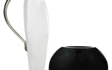 Signed Steven Newell Glass Pitcher, with Vase
