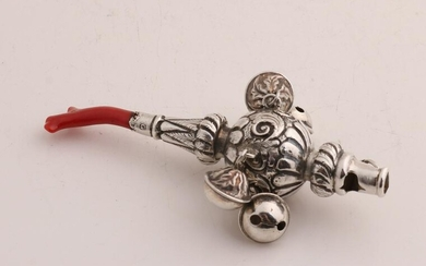 Silver bar rattle, 925/000, with red coral and bells.