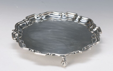 Silver tray, England, Sterling silver, on three...