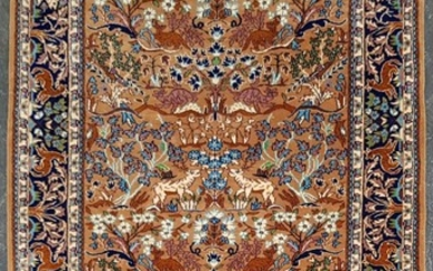 Small Persian Garden of Paradise Wool Carpet, with animals and flora on a tobacco ground & dark blue border (190 x 127cm)
