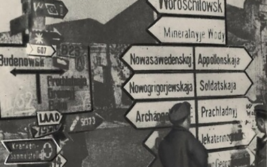 "[Soviet]. Photograph ""German road signs in North Caucasus during WWII"". 1940s. - 12x16 cm."