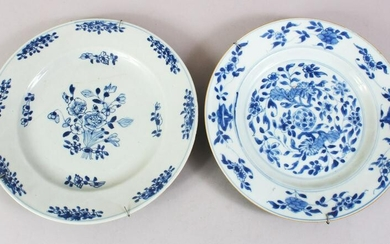 TWO 18TH CENTURY CHINESE BLUE & WHITE PORCELAIN PLATES