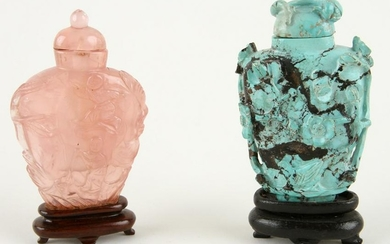 TWO CHINESE SNUFF BOTTLES CARVED QUARTZ