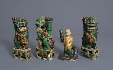 Three Chinese famille verte biscuit models of Buddhist...