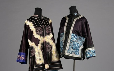 Two Black Ground Embroidered Silk Lady's Coats Length