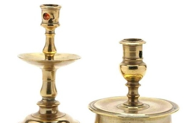Two Early Brass Candlesticks