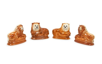 Two Pairs of Staffordshire Style Lions Height of larger