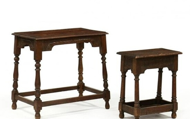 Two William and Mary Style Carved Oak Stands
