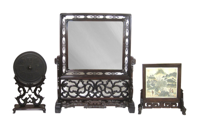 Two hongmu table screens together with a bronze mirror on stand