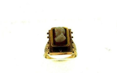 VINTAGE C.1900 ANTIQUE 14K YELLOW GOLD CAMEO RING