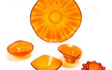 Viking Modernist Vintage 1950s Orange Glass LOT