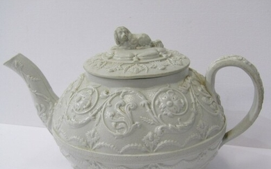 WEDGWOOD, 19th Century stoneware teapot, lion finial with ar...
