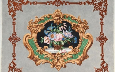 Wallpaper, attic or fireplace front trim, circa 1850