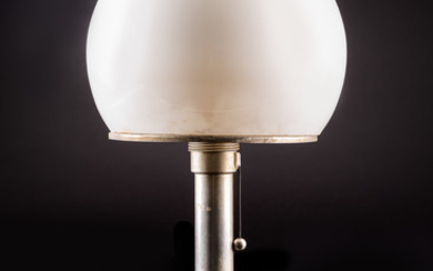 Wilhelm Wagenfeld, Bauhaus, a lamp / table lamp, model 'W1', steel, nickel-plated, milk glass, Germany, designed in the 1930s