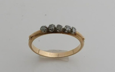 Yellow gold row ring, 585/000, with diamond. Ring