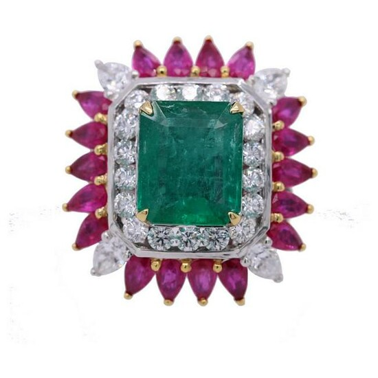 10.72 tcw Emerald Ruby Natural Diamond Ring in 18K