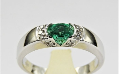 14 kt. White gold - Ring - 0.40 ct Emerald - Diamond