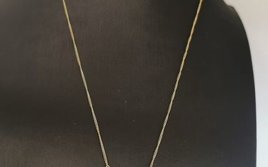 14 kt. White gold, Yellow gold - Necklace with pendant - 1.05 ct Diamond