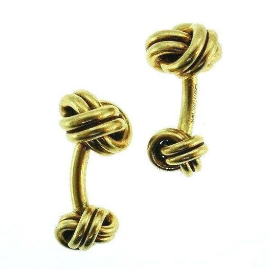 14K Yellow Gold Cartier Knot Modern Cufflinks