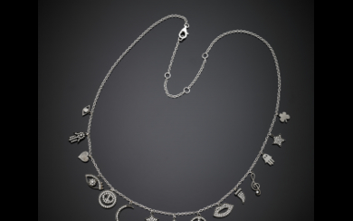 White gold chain necklace with fifteen black rhodium plated...