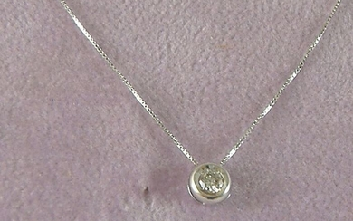 18 kt. White gold - Necklace with pendant - 0.10 ct Diamond