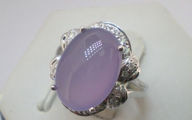 18 kt. White gold - Ring - 5.98 ct Purple Chalcedony - Diamond