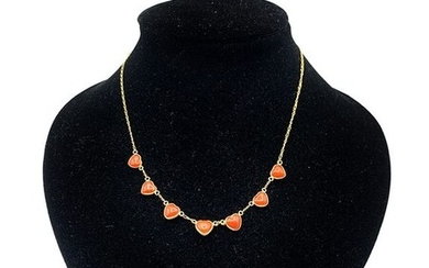 18 kt. Yellow gold - Necklace Red Coral of Sardinia