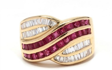 18KT Gold, Ruby, and Diamond Ring, LeVian